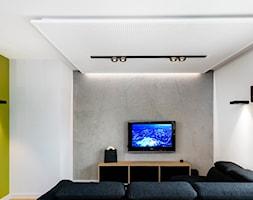 Wyciszanie mieszkania - Mały szary biały zielony salon, styl nowoczesny - zdjęcie od Knauf