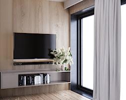 Ściana tv wykończona drewnem - zdjęcie od igloo studio - Homebook