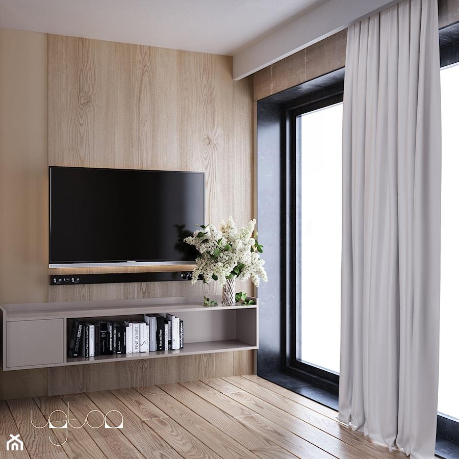 Ściana tv wykończona drewnem - zdjęcie od igloo studio