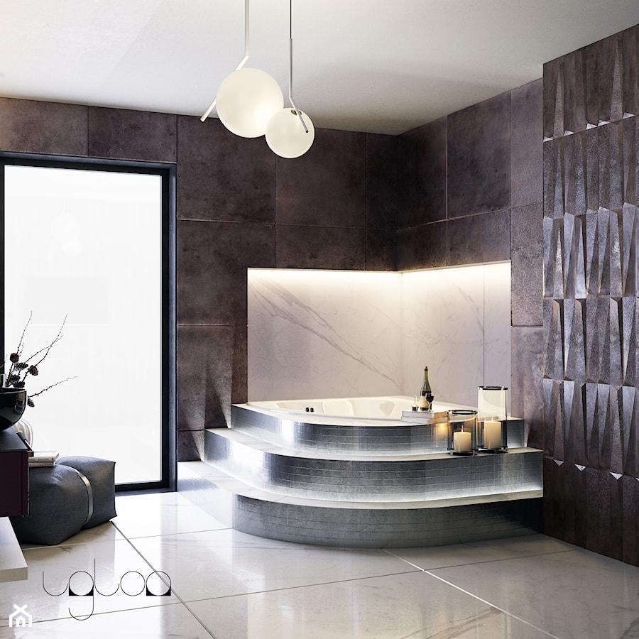 Łazienka w odcieniach grafitu i srebrnej mozaiki - zdjęcie od igloo studio