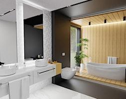 Wooden story - Duża biała czarna łazienka w domu jednorodzinnym jako salon kąpielowy z oknem, styl nowoczesny - zdjęcie od MoonfieldStudio
