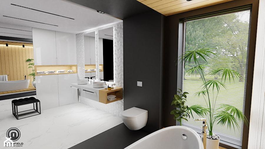 Wooden story - Duża biała czarna łazienka w domu jednorodzinnym z oknem, styl nowoczesny - zdjęcie od MoonfieldStudio