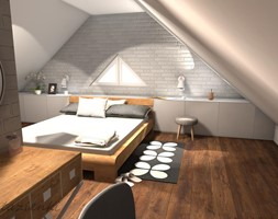 Sypialnia i miejsce wypoczynku na poddaszu - Duża szara sypialnia małżeńska na poddaszu, styl skandynawski - zdjęcie od AWOKADO PROJEKTOWANIE WNĘTRZ