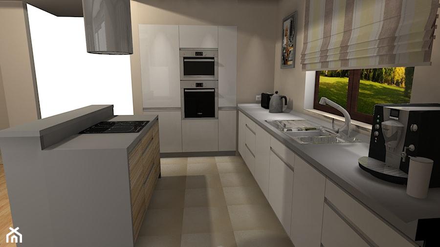 Kuchnia z wyspą otwarta na salon  zdjęcie od BasiaProjekt -> Kuchnia Z Oknem Otwarta Na Salon