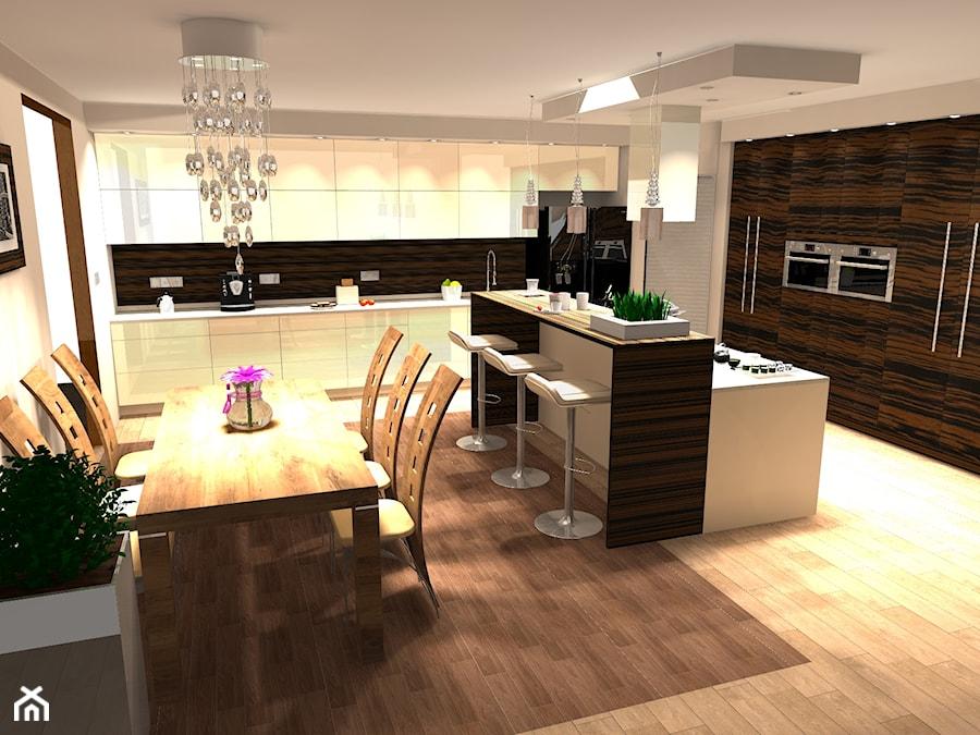 Duża kuchnia z jadalnią  zdjęcie od BasiaProjekt -> Kuchnia Z Wyspą Polączona Z Jadalnią