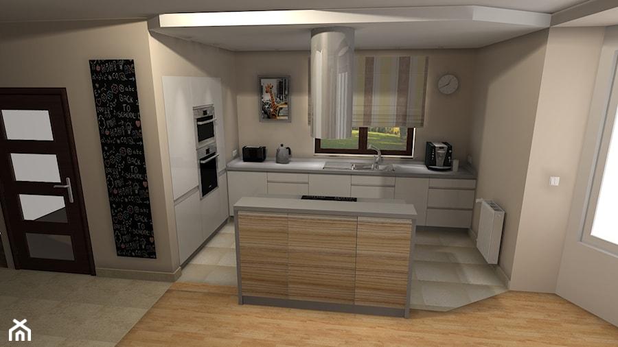 Kuchnia z wyspą otwarta na salon  zdjęcie od BasiaProjekt -> Kuchnia A Salon