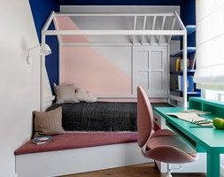 Mieszkanie Gdańsk Niepołomicka - Mały biały niebieski pokój dziecka dla dziewczynki dla ucznia dla malucha dla nastolatka, styl klasyczny - zdjęcie od Kowalczyk-Gajda Studio Projektowe