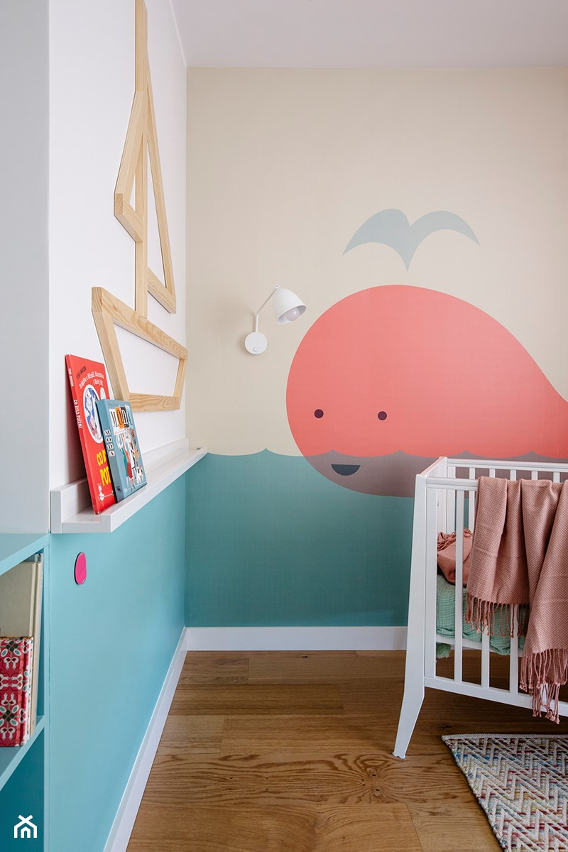 Mieszkanie Gdańsk Niepołomicka - Mały biały beżowy niebieski pokój dziecka dla chłopca dla dziewczynki dla niemowlaka, styl klasyczny - zdjęcie od Kowalczyk Gajda Studio Projektowe