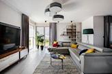 sofa, regał, lampy, szary - zdjęcie od Kowalczyk Gajda Studio Projektowe - Homebook