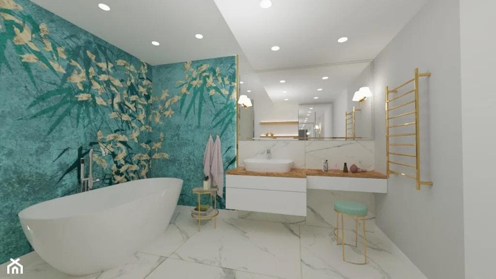 Łazienka – aranżacja stylowej łazienki z fototapetą w orientalną nutę, rybki i bambusy. - zdjęcie od MGArchitekci.pl - Homebook