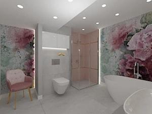 Projekt łazienki z fototapetą - kwiaty