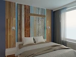 Sypialnia z elementami zniszczonego drewna