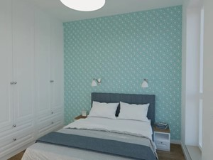 Sypialnia w niebieskościach