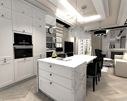 Apartament Glamour w Lublinie - Średnia biała kuchnia jednorzędowa w aneksie z wyspą, styl glamour - zdjęcie od Piękne Wnętrza Agata Smolińska