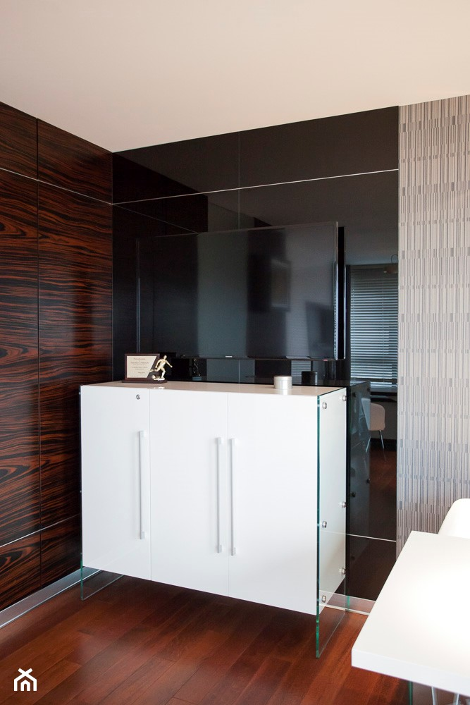 Biuro w Metropolitan Park (17-te piętro) w Lublinie - Średnie beżowe biuro domowe w pokoju, styl nowoczesny - zdjęcie od Piękne Wnętrza Agata Smolińska