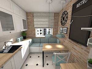 Projekt Kuchni - Średnia zamknięta wąska beżowa szara kuchnia jednorzędowa z oknem, styl vintage - zdjęcie od Piękne Wnętrza Agata Smolińska