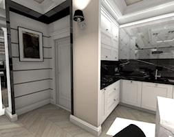 Apartament Glamour w Lublinie - Średnia otwarta szara czarna kuchnia w kształcie litery l z wyspą z oknem, styl glamour - zdjęcie od Piękne Wnętrza Agata Smolińska