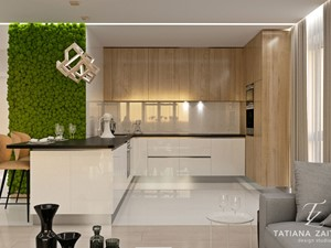 Harmonia we wszystkim - Średnia otwarta szara kuchnia w kształcie litery u w aneksie - zdjęcie od tz-interior.com