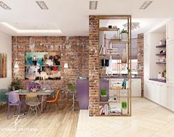 Dom w style boho. - Średnia otwarta kuchnia w kształcie litery u z oknem - zdjęcie od tz-interior.com