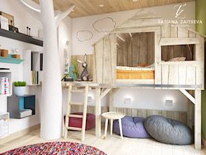 Dom w style boho. - Mały biały zielony pokój dziecka dla chłopca dla dziewczynki dla malucha - zdjęcie od tz-interior.com
