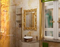 Łazienka inspirowana barokiem 2 - Mała szara łazienka w bloku w domu jednorodzinnym z oknem, styl klasyczny - zdjęcie od Pracownia projektowa - mgr inż. arch. Agnieszka Surosz