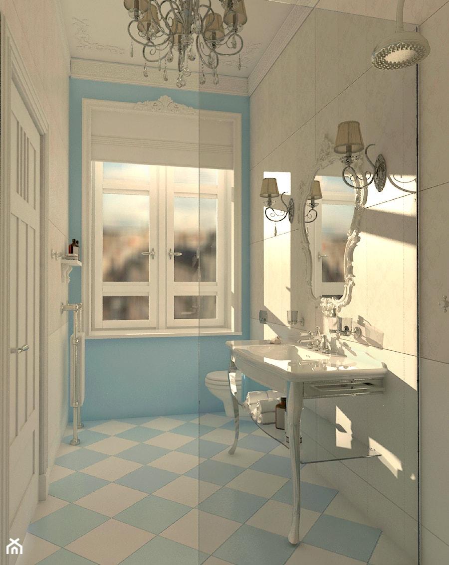 Łazienka inspirowana stylem rokoko 1 - Średnia niebieska szara łazienka w bloku w domu jednorodzinnym z oknem, styl klasyczny - zdjęcie od Pracownia projektowa - mgr inż. arch. Agnieszka Surosz