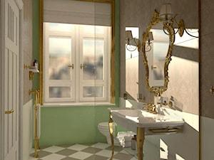 Łazienka inspirowana stylem rokoko 1 - Mała szara zielona łazienka w bloku w domu jednorodzinnym z oknem, styl klasyczny - zdjęcie od Pracownia projektowa - mgr inż. arch. Agnieszka Surosz