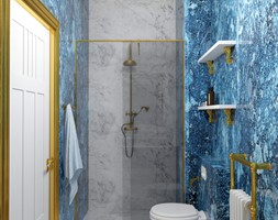 Łazienka inspirowana barokiem 3 - Mała niebieska szara łazienka w bloku w domu jednorodzinnym bez okna, styl klasyczny - zdjęcie od Pracownia projektowa - mgr inż. arch. Agnieszka Surosz