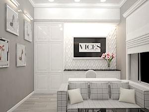 Gabinet glamour dla firmy Vices - Średnie szare białe biuro domowe kącik do pracy w pokoju, styl glamour - zdjęcie od Pracownia projektowa - mgr inż. arch. Agnieszka Surosz
