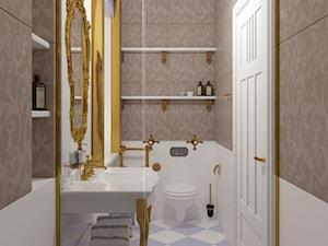 Łazienka inspirowana stylem rokoko 2 - Mała biała szara łazienka w bloku w domu jednorodzinnym bez okna, styl klasyczny - zdjęcie od Pracownia projektowa - mgr inż. arch. Agnieszka Surosz