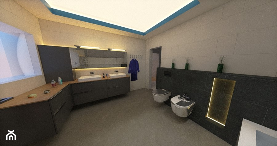 Projekt łazienki Z Sufitem Napinanym Jako Oświetlenie