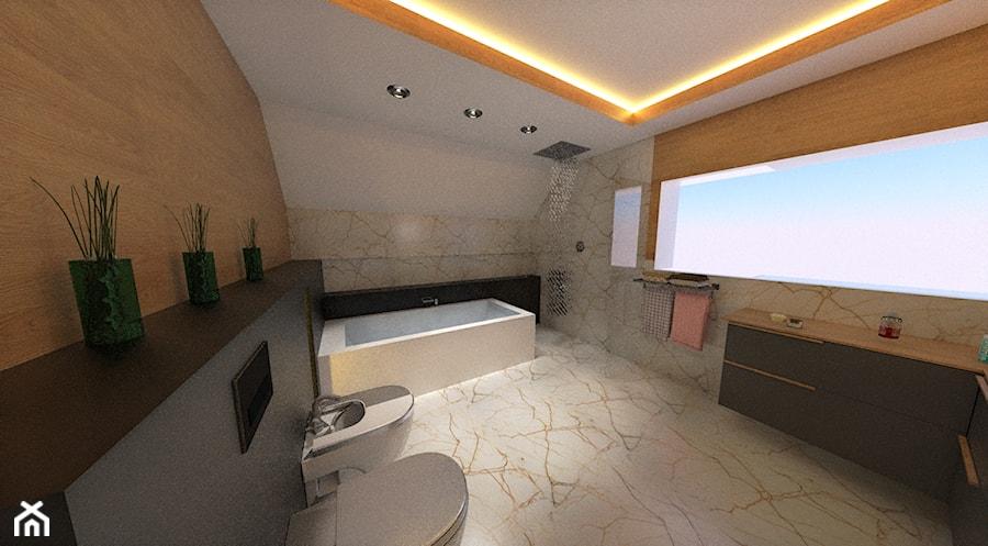 Projekt łazienki Na Poddaszu W Kamieniu I Drewnie Zdjęcie