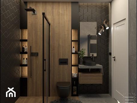 Aranżacje wnętrz - Łazienka: Wąska łazienka w drewnie betonie i czerni - PRACOWNIA PROJEKTOWA KINGA ZDŻALIK. Przeglądaj, dodawaj i zapisuj najlepsze zdjęcia, pomysły i inspiracje designerskie. W bazie mamy już prawie milion fotografii!