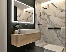 Łazienka w bieli drewnie i czerni - zdjęcie od PRACOWNIA PROJEKTOWA KINGA ZDŻALIK - Homebook