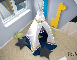 Projekt pokoju dziecięcego - Mały szary czarny pokój dziecka dla dziewczynki dla malucha, styl skandynawski - zdjęcie od Geometria Studio