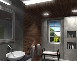 Łazienka w ponadczasowej szarości ocieplonej drewnem - zdjęcie od Szoka Design Szoka Iwona