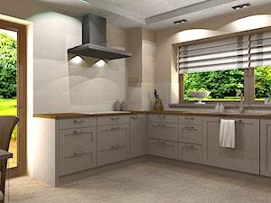Kuchnia - Duża otwarta beżowa kuchnia w kształcie litery l z oknem, styl tradycyjny - zdjęcie od Szoka Design Szoka Iwona