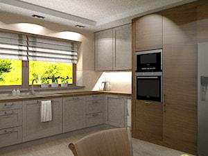 Kuchnia - Duża otwarta beżowa kuchnia w kształcie litery u z oknem, styl tradycyjny - zdjęcie od Szoka Design Szoka Iwona