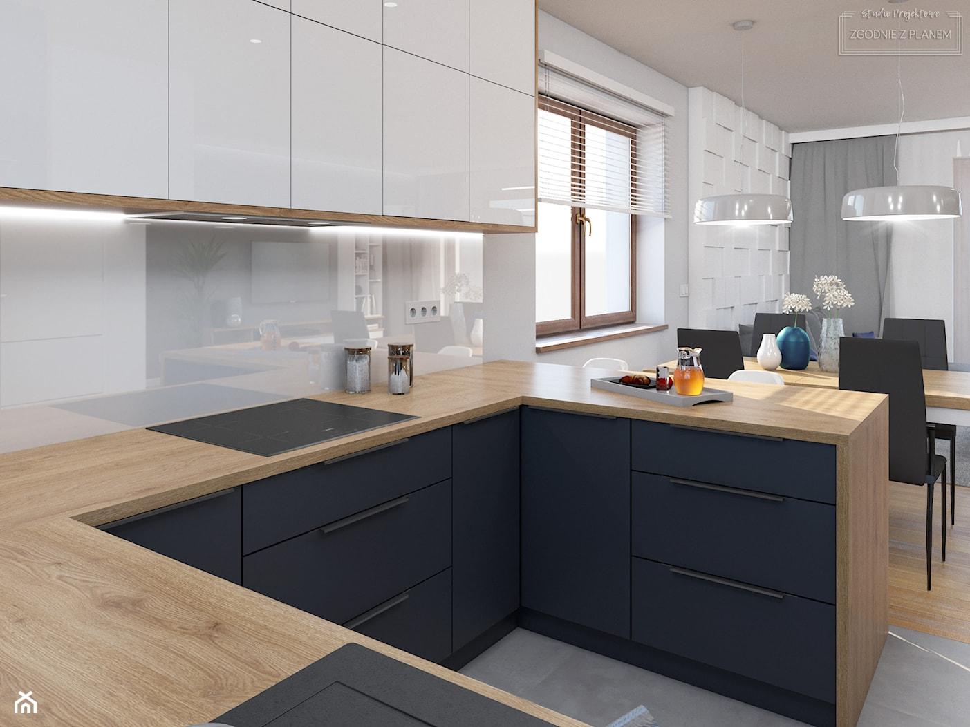 Dom w Tarnowskich Górach - Mała otwarta biała kuchnia w kształcie litery u z oknem, styl nowoczesny - zdjęcie od Studio Projektowe Zgodnie Z Planem - Homebook