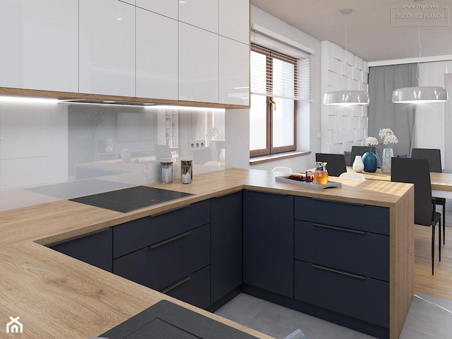 Dom w Tarnowskich Górach - Mała otwarta biała kuchnia w kształcie litery u z oknem, styl nowoczesny - zdjęcie od Studio Projektowe Zgodnie Z Planem