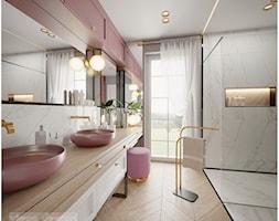 Pudrowo - różowy luksus. - Średnia szara łazienka w bloku w domu jednorodzinnym z oknem, styl glamour - zdjęcie od Visoo Design