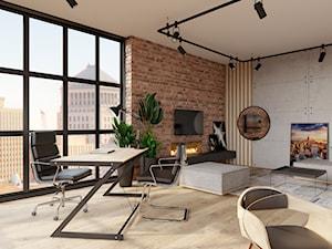 Biuro 50m2 w apartamentowcu - Duże szare biuro pracownia domowe w pokoju, styl industrialny - zdjęcie od KDK Design