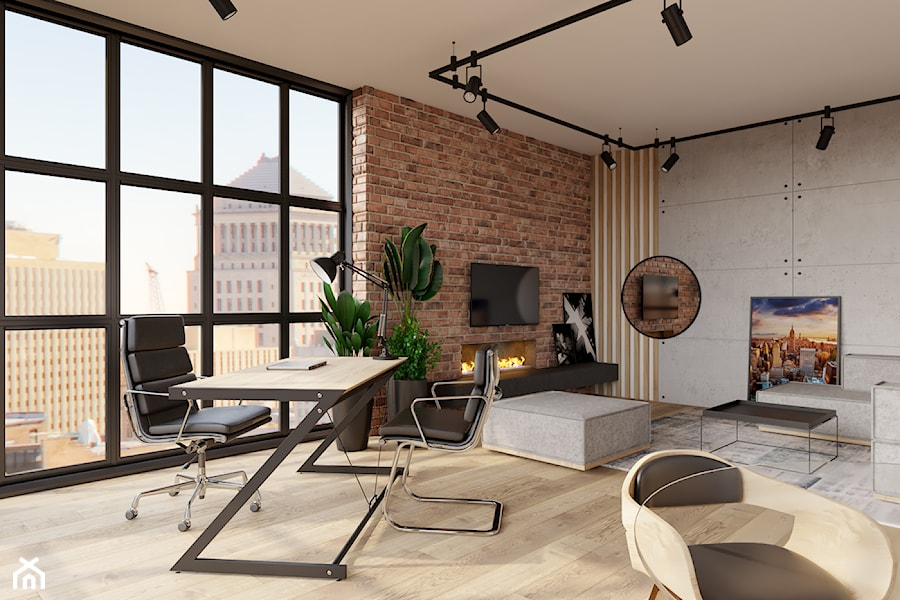 Aranżacje wnętrz - Biuro: Biuro 50m2 w apartamentowcu - Biuro, styl industrialny - KDK Design. Przeglądaj, dodawaj i zapisuj najlepsze zdjęcia, pomysły i inspiracje designerskie. W bazie mamy już prawie milion fotografii!