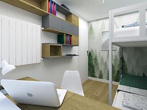 Mały pokój dziecięcy z piętrowym łóżkiem - Mały szary pokój dziecka dla chłopca dla dziewczynki dla rodzeństwa dla ucznia dla nastolatka, styl nowoczesny - zdjęcie od KDK Design