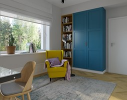 Gabinet domowy 12m2 - Średnie szare białe biuro domowe w pokoju, styl nowoczesny - zdjęcie od KDK Design