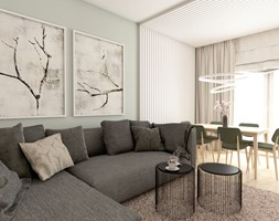 Mieszkanie na warszawskiej Woli - Mały szary salon z jadalnią, styl nowoczesny - zdjęcie od AxisDesign