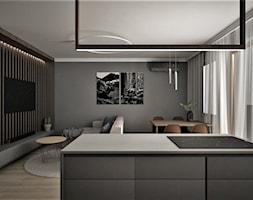 apartament g - Mały czarny salon z kuchnią z jadalnią, styl nowoczesny - zdjęcie od Minima Studio - Homebook