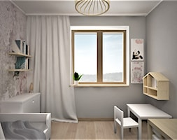 apartament g - Mały szary pokój dziecka dla chłopca dla dziewczynki dla ucznia dla malucha, styl skandynawski - zdjęcie od Minima Studio - Homebook