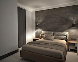 apartament k - Mała szara brązowa sypialnia małżeńska, styl nowoczesny - zdjęcie od Minima Studio