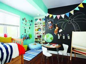 Inspiracje - Średni zielony czarny pokój dziecka dla chłopca dla rodzeństwa dla malucha, styl eklektyczny - zdjęcie od Command Inspiracje